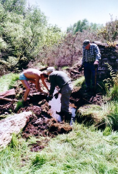 John Alder, Roy Quillam and Harold Morris digging new course for stream