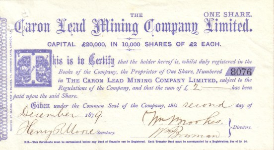 Caron Lead Mining Co. Ltd Share Certificate 1879 (G Levins Collection)