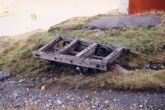 Wooden tram-wagon chassis.