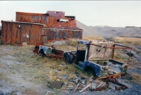 Dressing Mill with abandoned Land Rovers.