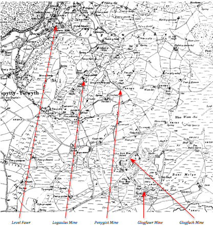 2nd Ed 6 inch OS Map. People's Collection Wales. Level Fawr and the four mines to the south east, which it drained.