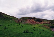 Looking north east, dump from main adit beside farm track.
