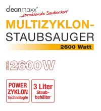 cleanmaxx Multizyklon-Staubsauger Plus gold, 2600 Watt ...