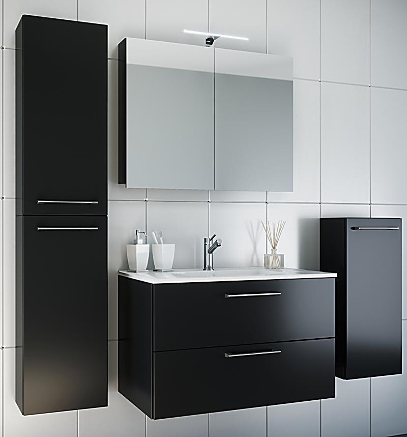 VCM Waschplatz Badmbel Badezimmer Komplett Set Waschtisch Waschbecken Spiegel Badset 5tlg