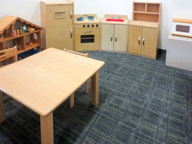 Even with play kitchen