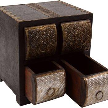 Schmuckkästchen Shisham Messing mit 4 Schubladen