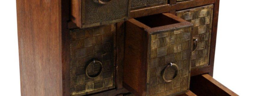 Schmuckkästchen Shisham Messing mit 9 Schubladen