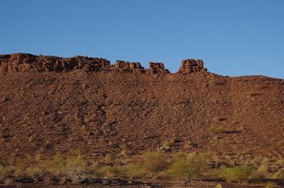 Abschied vom Fish River Canyon. Das Tal wird nach Norden immer flacher.