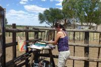 Babsi assistiert beim Kennzeichnen der Kälber.