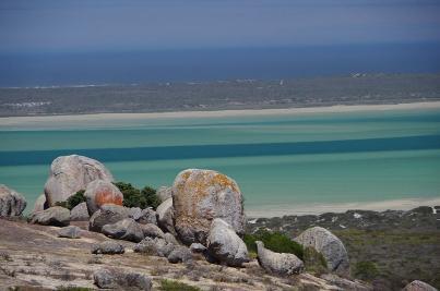 Die Lagune des West-Coast-Nationalpark hat bei Ebbe faszinierende Farbnuancen.