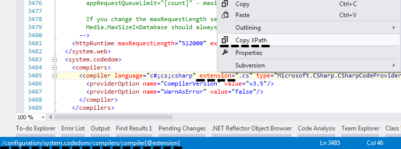 XPath information in Visual Studio  ReasonCodeExample