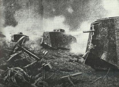 Zeichnung zum Angriff der Sturmpanzerwagen-Abteilung in der Schlacht bei Villers-Bretonneux und Cachy am 24. April 1918.