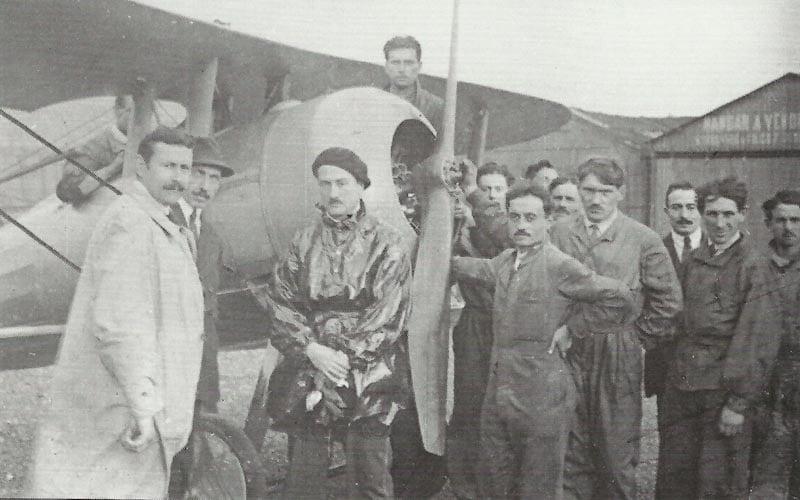 Garros mit seiner Morane-Saulnier L mit Abweisblechen