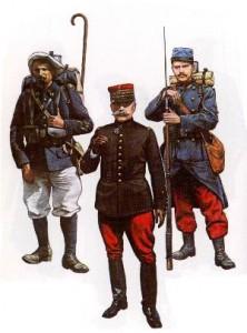 französischer Gebirgsjäger, General und Infanterist (1914)