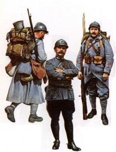 so hat sich das Bild bis 1915 gewandelt = Infanterist, Oberst der Schützen und Korporal der Pioniere (Frankreich, 1915-1918)
