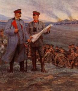 Hindenburg und Ludendorff während der Schlacht von Tannenberg