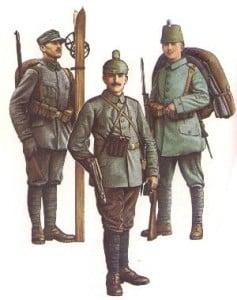Schütze der Gebirgskompanie 1 der württemberg. Gebirgsjäger (1915) * Kanonier der Gebirgsgeschützbatterie Nr.2 (1915) * Jäger des Jägerbattailons 10 (Goslar, 1915)