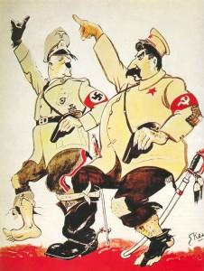 Karikatur über den Hitler-Stalin-Pakt