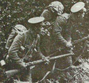 Britische Infanteristen in Belgien