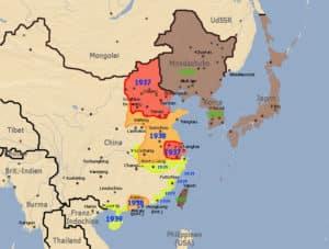 Karte vom Krieg in China 1937-1939
