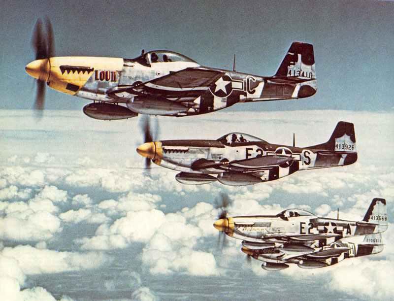 P-51 D Mustangs der 361.Jäger-Gruppe der 8.Air Force