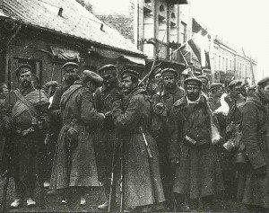 Russische Soldaten in Warschau 1914