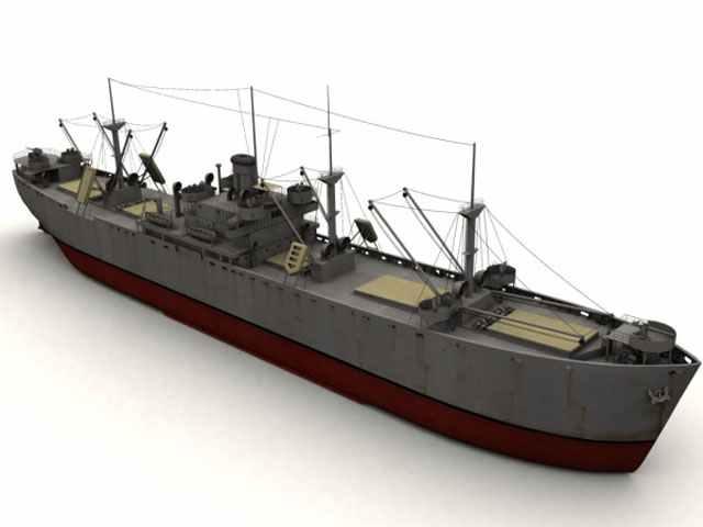 3D-Modell eines Liberty-Frachter.