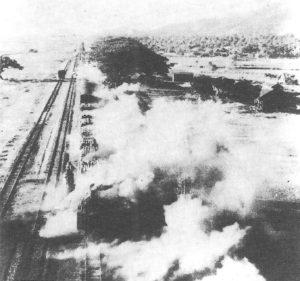 Zug unter Luftangriff