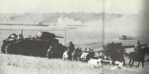 Abgeschossener französischer schwerer Panzer Char B