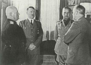 Mussolini, Hitler, Ciano und von Ribbentrop