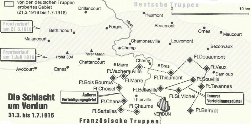 Karte Schlacht von Verdun