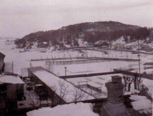 Blick über die Dächer im Winter 1940/41 am Stadtrand von Kristiansand