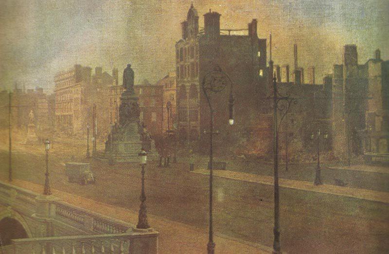 O'Connel Street in Dublin nach dem britischen Bombardement