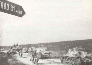 Panzerdivision auf dem Vormarsch