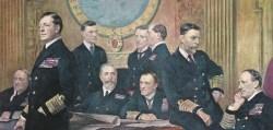Besprechung britischer Marineoffiziere.