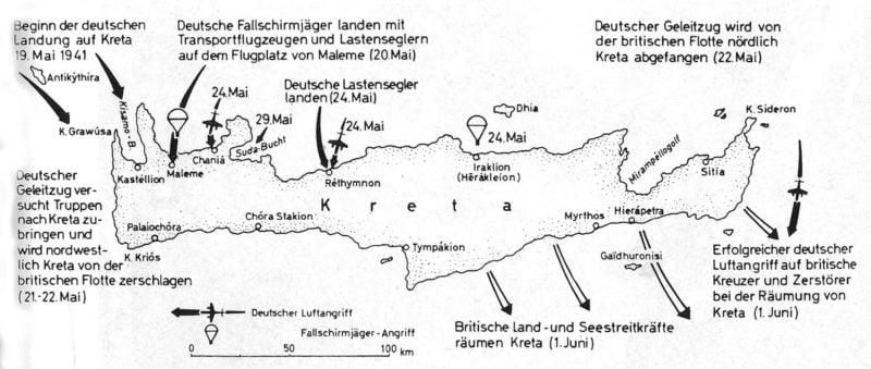 Karte Luftlandung auf Kreta