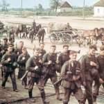 deutsche Infanterie marschiert nach Russland hinein