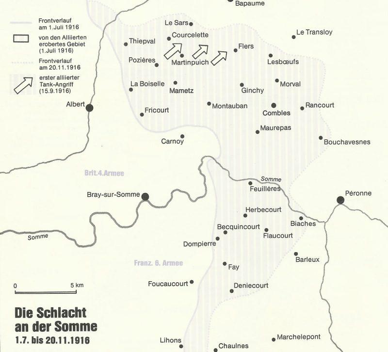 Karte der Schlacht an der Somme