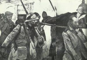 deutsche Gefangene transportieren französische Verwundete