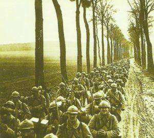 Französische Infanterie auf dem Marsch