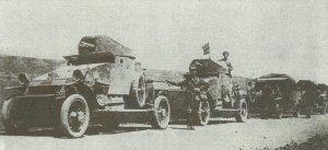 Lanchester-Panzerwagen der Royal Navy in Russland