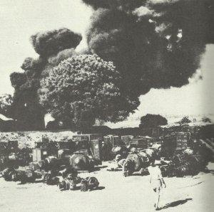 Ölfeld Yenangyuang in Flammen