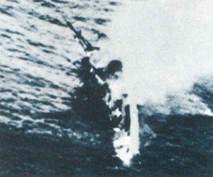 HMS Exeter kurz vor ihrem Untergang