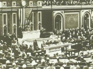 Präsident Woodrow Wilson bei seiner Rede vor dem Kongress