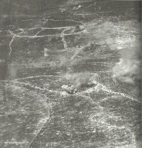 Luftaufnahme von den Kämpfen an der deutsch-französischen Front