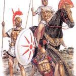 schwerer Reiter mit Hopliten