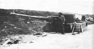 Abgeschossener Tiger-Panzer