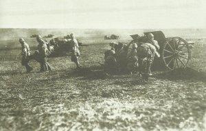 Türkische Feldgeschütze im Gefecht mit britischen Truppen