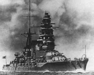 Japanisches Schlachtschiff Mutsu.