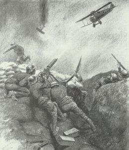 Soldaten bekämpfen im Juni 1918 englische Tiefflieger
